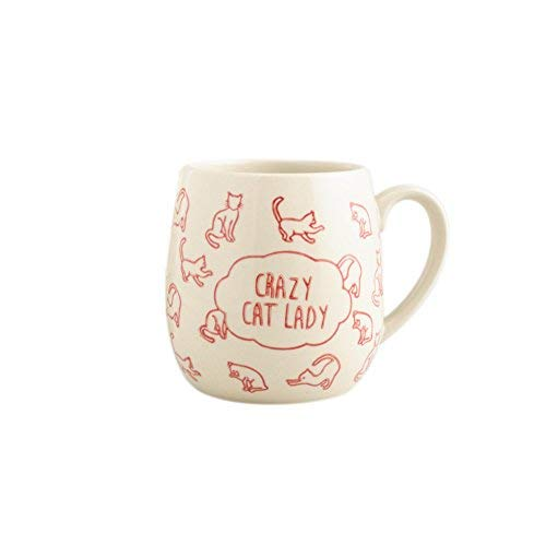 Crazy Cat Lady Coffee Mug - Best Cat Themed Gifts for Cat Lovers and Coffee Lovers | Large Ceramic Coffee Mug | One Cat Short of Crazy Novelty Mug | 18 Oz, Red, by World Market Crazy Cat Lady Mug