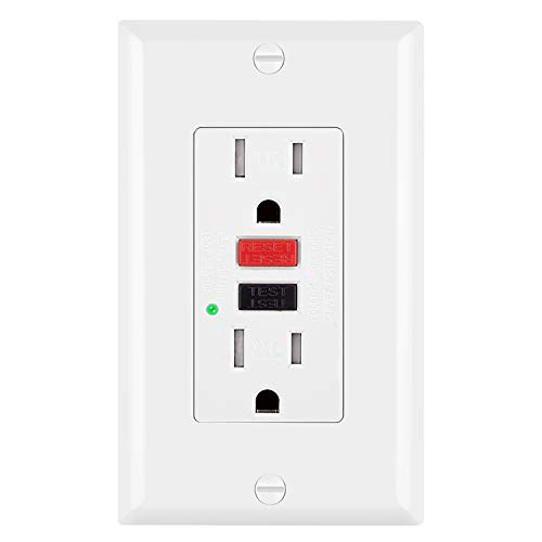 BESTTEN Tamper-Resistant GFCI Receptacle Outlet (15A/125V/1875W), LED Indicator, Decorative Wall Plate and Screws Included, ETL Certified, White