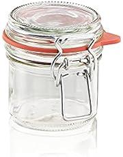 Leifheit Bygelglas, 135 ml, diskmaskinssäkert konserveringsglas, förvaringsburk för insättning, matlagning och matlagning, dekorativt konserveringsglas med lock