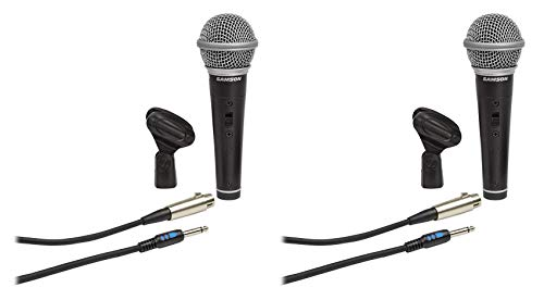 ((2) Samson R21S Dynamic Handheld Microphones+Mic Clips+Cables+3.5mm adapters)