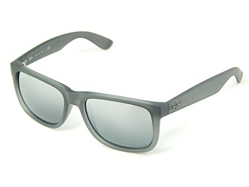 Gradient Gray Mirror ban Ray Transparent Rectangular Sunglasses Rubber Justin Rb4165 silver Unisex Ba0vPw