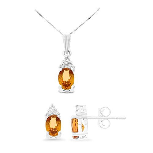 14K White Gold 1.74CTW Genuine Orange Sapphire and Diamond Earrings + Pendant Set With Square Box (Diamond Orange Sapphire Gold Jewelry)