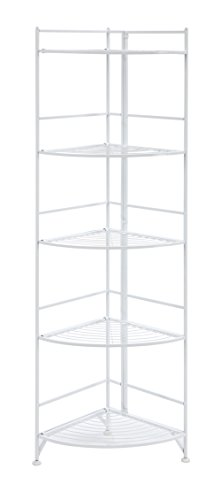 - Convenience Concepts 8021W Designs2Go X-Tra Storage 5-Tier Folding Metal Corner Shelf, White