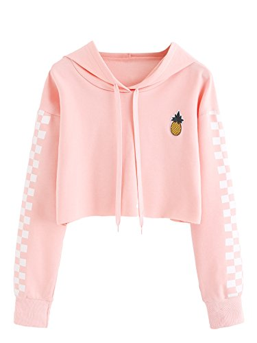 (MAKEMECHIC Women's Pineapple Embroidered Hoodie Plaid Crop Top Sweatshirt Pink S)