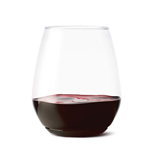 TOSSWARE 18oz Tumbler - recyclable wine plastic cup - SET OF 12 - stemless, shatterproof and BPA-free wine glasses ()