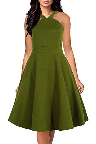 Yikomi Womens Chic Sleeveless Cross Neck Halter Casual Cocktail Party Dress K12 (L, Army ()