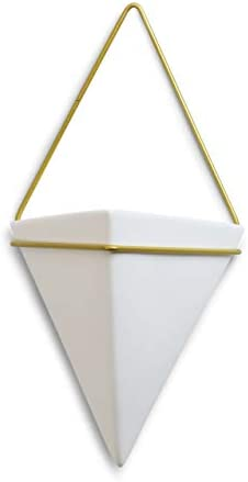 WGV Ceramic Vase, Width 6.6 Height 7 White Triangle Hanging Plant Gold Metal Unique Modern Container Planter Pot for Wedding Party Event Office Home Decor Large 1 Piece