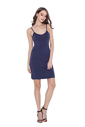 Women Long Spaghetti Strap Full Cami Slip Camisole Under Dress (Navy Blue Slip)