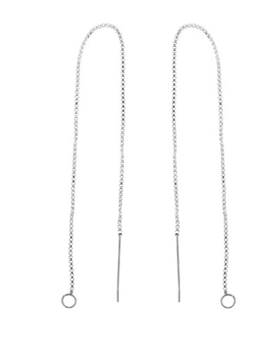 (12pcs Sterling Silver Ear Threads Long Chain Earrings with Loops | 3 inch Drop Earring Threader Findings Strong Long Lasting SS297-3)