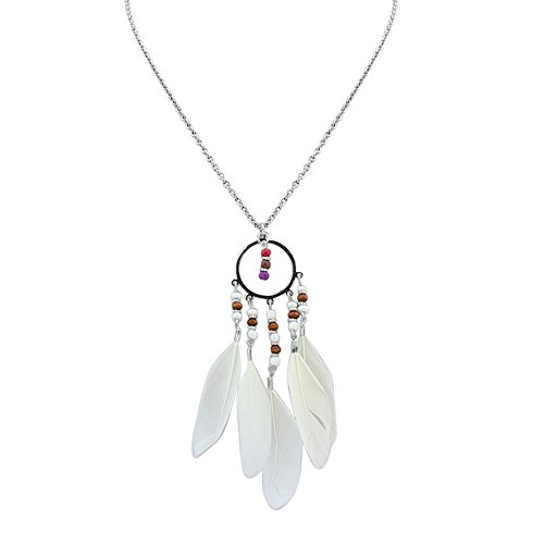 Gorgeous Jewelry Circle Fashion Tassels Necklace Vintage Beaded White Feathers Pendant Women Sweater Chain