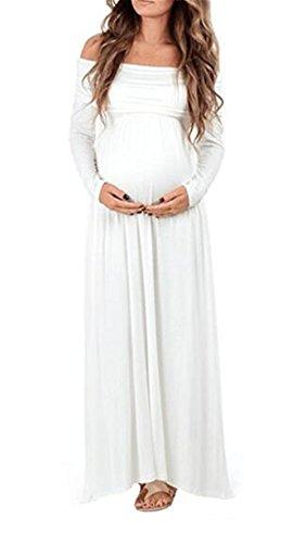 Tinta Abito Unita Dress Vestito Shoulder Maxi Haililais Manica Maternity Abiti Sciolto Incinta Gravidanza Premaman Lunga Donna Off Elegante Whtie Vestiti pnf5wq
