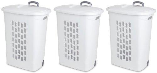 Plastic Clothes Hamper - Sterilite 12228003 Ultra Wheeled Hamper, White Lid & Base w/ Titanium Handle & Wheels, 3-Pack