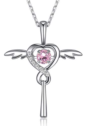 FOREVER QUEEN October Birthstone Necklace with 'Dancing Crystal', Infinity Love Angel Wings Heart Cross Pendant Necklace, 925 Sterling Silver CZ Necklace for Women Girls Birthday Gift, FQ0030-10 ()