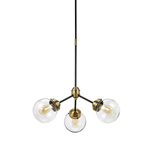 (Rivet Mid-Century Modern Glass Globe Hanging Ceiling Pendant Chandelier Fixture With 3 LED Bulbs - 24.5 x 24.5 x 57 Inches, Black And Brass )