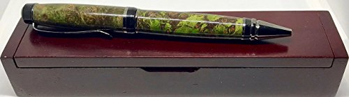 Purple & Lime Green Partagas Ballpoint Pen - Black Titanium - Bendecidos Pens - Handmade Wood Pen | Valentines Day, Birthday, Anniversary Gifts