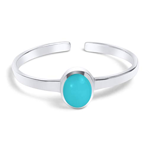 (KEZEF Creations High Polished Sterling Silver Reconstituted Turquoise Oval Cabachon Toe Ring)