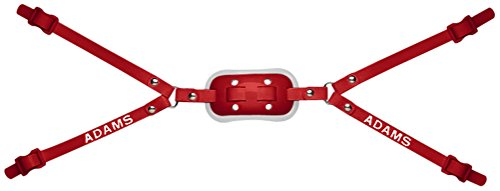 Gel Cup Football Chin Strap - Adams 4-Point High Gel Chin Straps (Red, Pro 100 Adult)