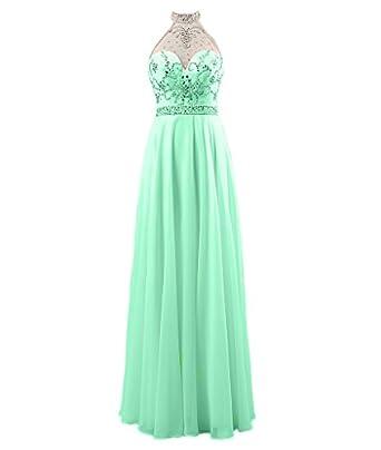 Fanmu Womens Halter Neck Beaded Chiffon Evening Dress Formal Prom Gown Size 6 UK Mint