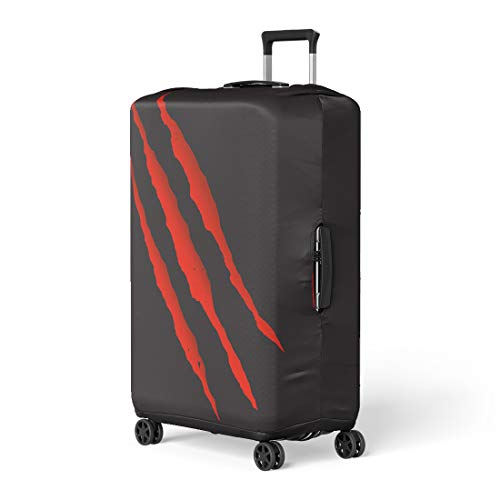 Pinbeam Luggage Cover Scratch Red Bloody Claw Deep Scratches Mark Dinosaur Travel Suitcase Cover Protector Baggage Case Fits 26-28 inches]()