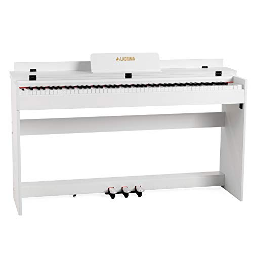 LAGRIMA Digital Piano 88 Key Electric Keyboard Piano for Beginners W/Music Stand Power Adapter 3-Pedal Board Instruction Book Headphone Jack (White Only Piano)