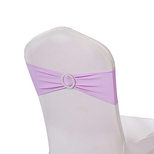 WENSINL Pack of 50 Spandex Chair Sashes Bows Elastic Chair Bands with Buckle Slider Sashes Bows for Wedding Decorations Without White Covers (Lilac)