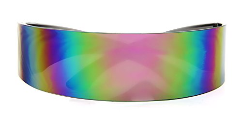 Rainbow Mirror Lens - Futuristic Shield Sunglasses Monoblock Cyclops Rainbow Mirror Lens
