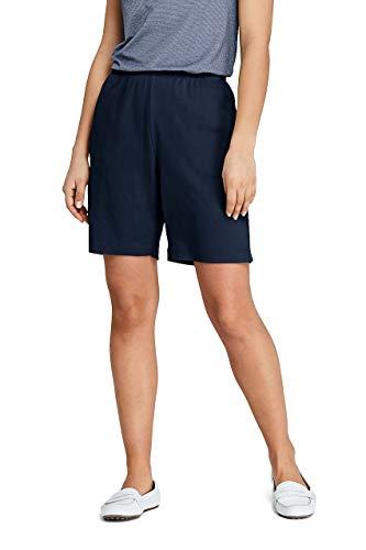 (Lands' End Women's Petite Sport Knit Elastic Waist Pull On Shorts Classic Navy)