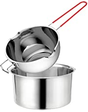 Stainless Steel Double Boiler Pot with Heat Resistant Handle Grip, 600ml Large Capacity for Melting Chocolate Yogurt Butter Cheese Caramel and Candy