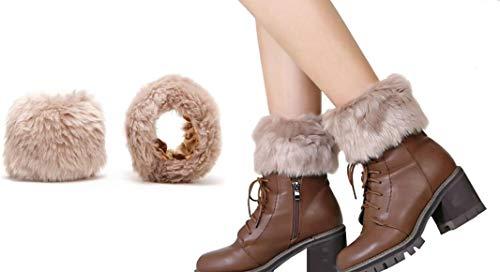 Women's Faux Fur Wrist Cuffs Band Short Arm Warmers and Leg Warmer Boot Cuffs Socks Short