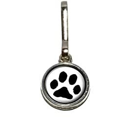 Graphics and More Paw Print - Pet Dog Cat Antiqued Charm Clothes Purse Luggage Backpack Zipper Pull