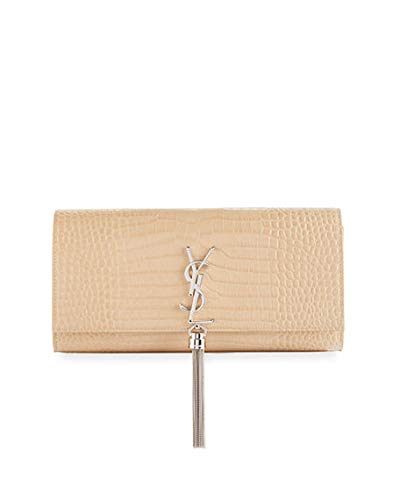 Saint Laurent Kate Monogram YSL Tassel Faux-Crocodile Clutch Bag made in  Italy (Beige 931b182e5791b