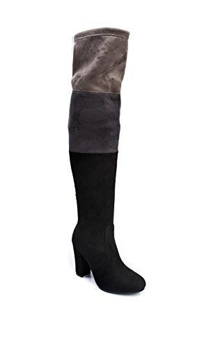 Ikrush Womens Keira Faux Suede Knee High Boots Black wJxpQOo