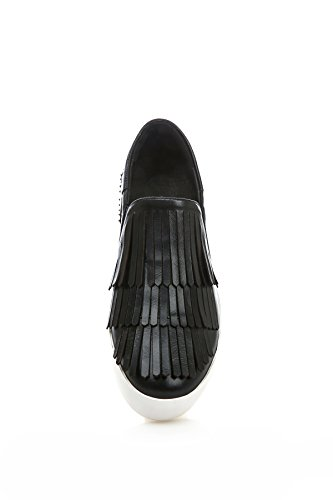 Pleather Heels Closure Low 1TO9 Loafers No MMS05782 Shoes Womens Flatform Black Tassels wfC0qU