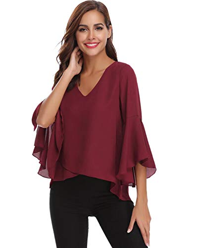 Hawiton Women V Neck 3/4 Bell Sleeve Chiffon Blouse Flowy Shirt Loose Top Shirts Wine Red
