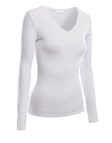 Long Sleeve V-neck Tee Tank Top Shirt (Small,