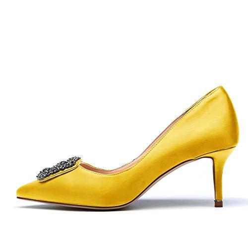 CHRIST Women Satin Pointy Toe Slide Rhinestones 65mm Kitten Heel Slip on  Mules High Heel Shoes Yellow Size 7