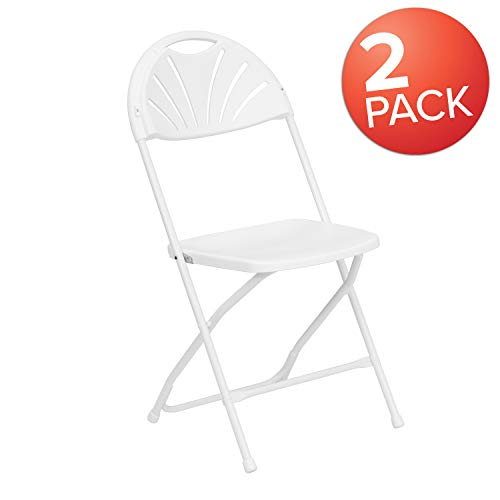Flash Furniture 2 Pk. HERCULES Series 650 lb. Capacity White Plastic Fan Back Folding ()