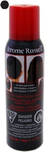 Jerome Russell Spray-On Color Black Hair Thickener 3.5 Ounce (103ml) (3 Pack)