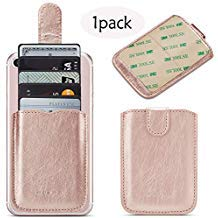 Phone Card Holder Credit 3M Stick Back On Wallet Pull 5Business Card Holder for Back of Phone Cell RFID Card ID Holder Adhesive Phone Pocket for iPhone XS MAX Android and All Smartphones(Rosegold)
