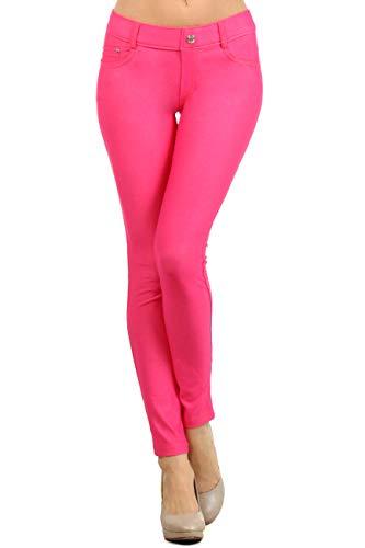Women's Jeggings - Pull On Slimming Cotton Jean Like Leggings (Fuchsia, 2XL)