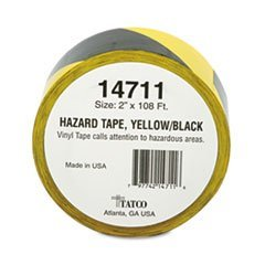 Hazard Marking Aisle Tape, 2w x 108 ft. Roll by Tatco (Hazard Marking Tatco Tape)