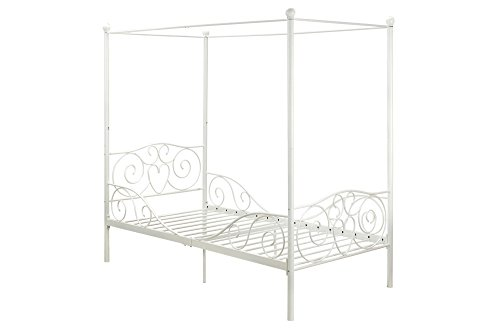 31xP4DVgzQL - DHP Canopy Bed with Sturdy Bed Frame, Metal, Twin Size - White