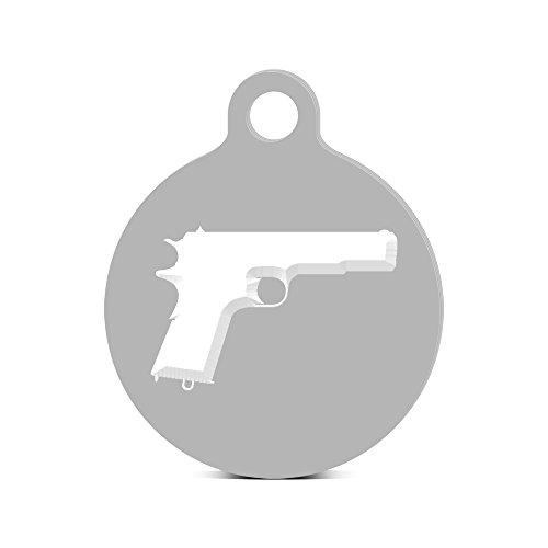 Model 1911 Round Keychain with Tab engraved m1911 Silver