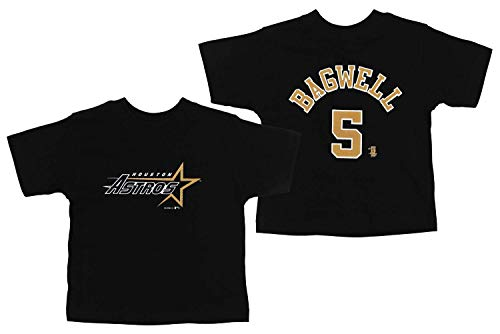 Mighty Mac Houston Astros Jeff Bagwell #5 MLB Little Boys Toddler Vintage Tee, Blacky (4T) ()