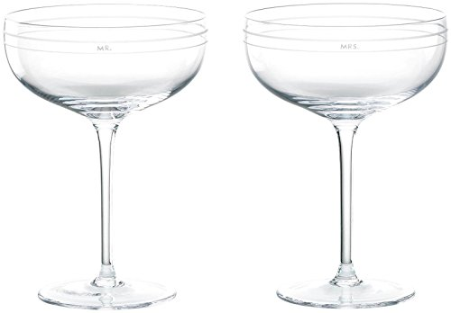 Kate Spade New York Darling Point Mr. and Mrs. Crystal Saucer Champagne Glasses, - Champagne Saucer Crystal