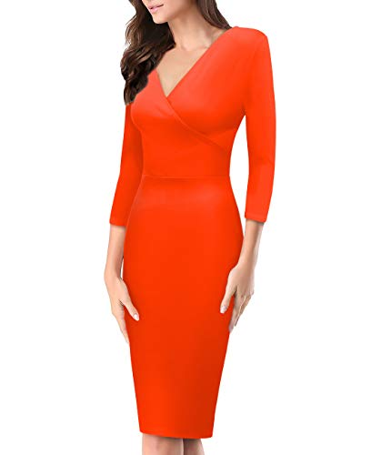 Women's Super Comfy Plum Cross V Neck MIDI Dress KDR44322X 1073T Rust 1X ()