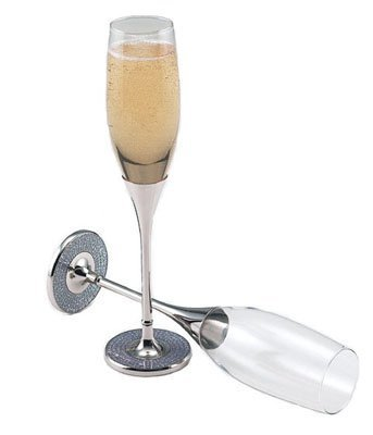Glitter Galore Toasting Flutes in Nickel Plated and Silver - Set Of 2