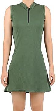 SPOEAR Women Tennis Dress Golf Sleeveless Zipper Collar Dresses Sportswear with Undershorts & Poc