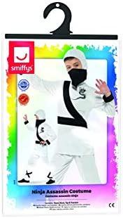 Smiffys Disfraz de Asesino Ninja, Blanco y Negro, con ...