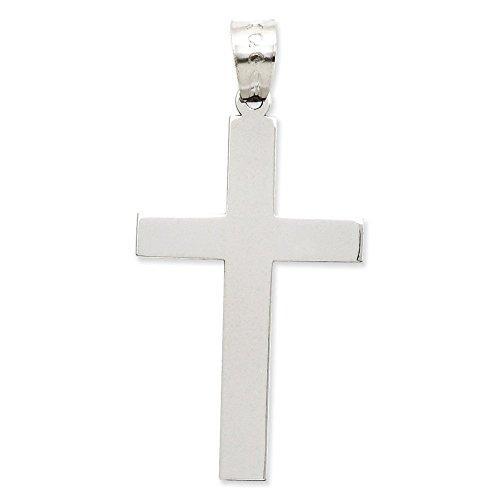 Or blanc poli 14 carats Pendentif croix-Dimensions :  21 x 14 cm-JewelryWeb